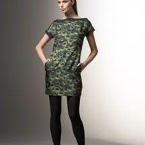 Milly Peacock Feather Short Sleeve Shift Dress 2
